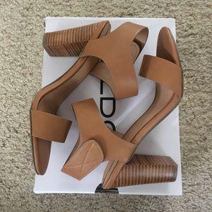 Aldo Shoes - Brand New Aldo Tan Istrago Block Velcro Heels